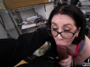 Gorgeous brunette with glasses handling BBC on casting so easy