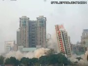 demolition fail! building falls the wrong way