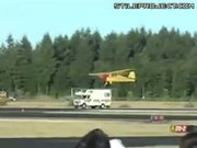 Plane landing on motorhome