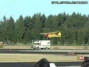 Plane landing on motorhome