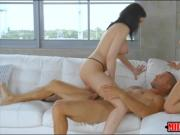 Sydney Cole and Cassandra Cain threesome session on sofa
