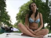 Jana in bikini banged by stranger dude in public for cash