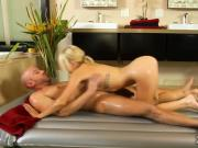 Enthusiastic therapist massage 2 big cocks at once