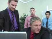 Orgy loving hunks jizzing at work
