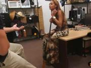 Busty whore with big boobs gets screwed at the pawnshop