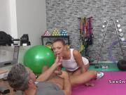 Brunette yoga babe banged at gym