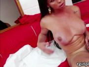 Busty shemale Milena twerks and jerks off her lovely dick
