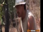 African slut got dominated and deepthroated by a big white cocked stud