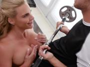 Busty MILF Phoenix Marie encourage Seth to workout by sucking his cock