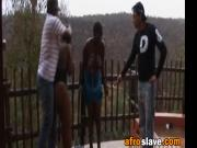 African sluts in rough outdoor nipple torment and spanking