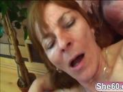 Old lady Ivet riding younger big cock fucking