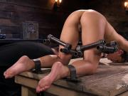 Slave in device bondage suctioned