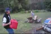 idiot lights a fire and his gas can catches on fire