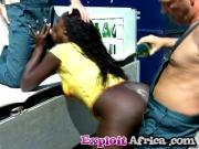 Black chick piss sucking doggy style white cocks