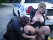 Two Busty Cop Bitches Arrested And Fucked Black Guy Outdoor