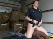 Duo of busty cops abusing black stud long shaft