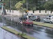 Woman Runs Over Mopeds