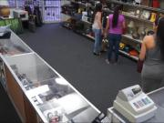 Sexy customer drilled by horny pawn man to earn extra money