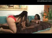 Ms. Sassi and Qali - Ebony lesbian dildo loving