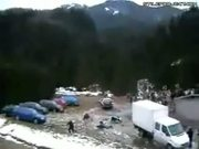 Rally Car Slides Into Spectators Then Continues Race