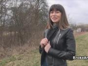 Pounding broke brunette in forest