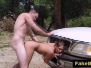 Nasty brunette slut getting slammed on the bored by a horny agent!
