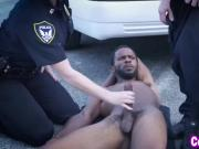 Nasty cougar officers sharing big black cock outdoor