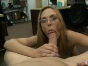 Slim amateur blonde babe gets slammed by pawn keeper