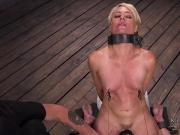 Collared blonde pussy vibed in dungeon