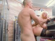 Horny busty blonde squirts in shop