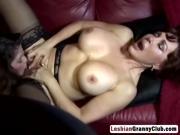 Lesbian big tits Vanessa and June lick pussies