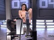 Hairy cunt brunette fucks machine