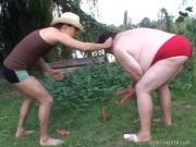 Fat Nympho Takes Juicy Pecker Up Vagina Outdoors