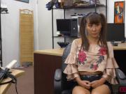 Slutty Asian Tiffany Rain shows her massive tits for money