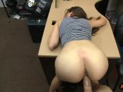 Cute babe railed by nasty pawn keeper at the pawnshop