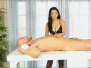 Sexy masseuse Josey Jagger milks cock under the table