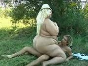 mega fatty plumper riding dick outside