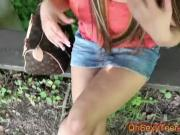 young brunette with amazing boobs sucking cock
