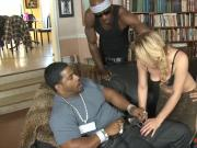 Sexy blonde babe dped by big black dicks and sucks off