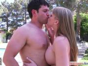 Busty gf Eve Laurence gets facialized outdoor