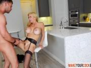 Blonde Mom Alexis Fawx Wore Stockings And Wake Up Son