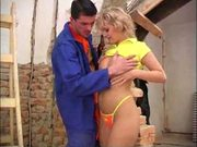 Hot babe and her workman