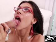 Heather Vahn brunette gets a cumshot all over