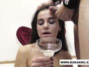 'Ukarian Teen Does Double Blowjob and Bukkake Trailer'