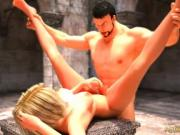Chained Futa Slave fucked hard in the garden by her muscled master