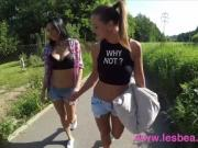 Lesbea Best friends outdoor shaved pussy eating in public