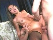 Asian whore gets both holes stuffed well