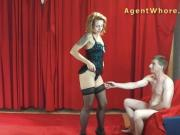 MILF agent whore gives BJ to young long dick