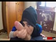 Big eyed Arab teen sucking big dick