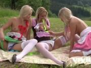 Bunch of Tiroler sluts go for a picnic but it doesn't end in just lunch